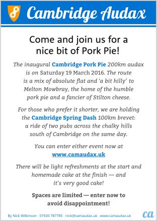 The Cambridge Pork Pie 2016 flyer